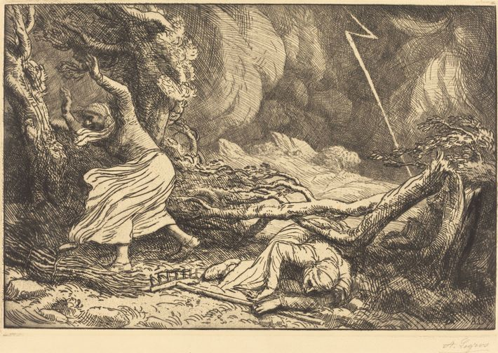 'Victimes de la foudre' (victims of the lightning), a drypoint etching by 19th century French artist Alphonse ...
