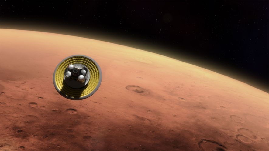 An inflatable shield would deploy when the Mars Ascent Vehicle and its lander enter the Martian ...