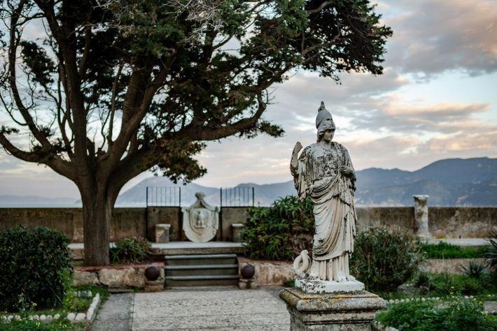 The garden of Villa dei Mulini in Elba Island