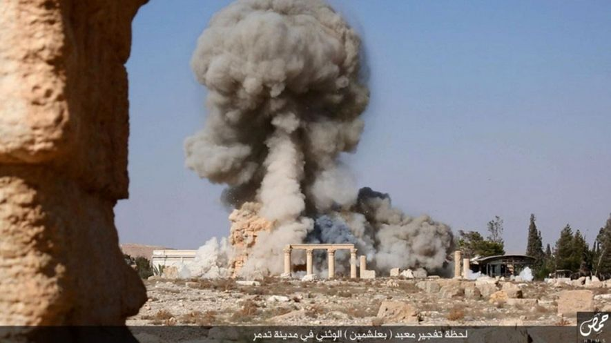 The Temple of Baal Shamin at Palmyra was attacked by ISIS fighters using improvised explosives. The ...
