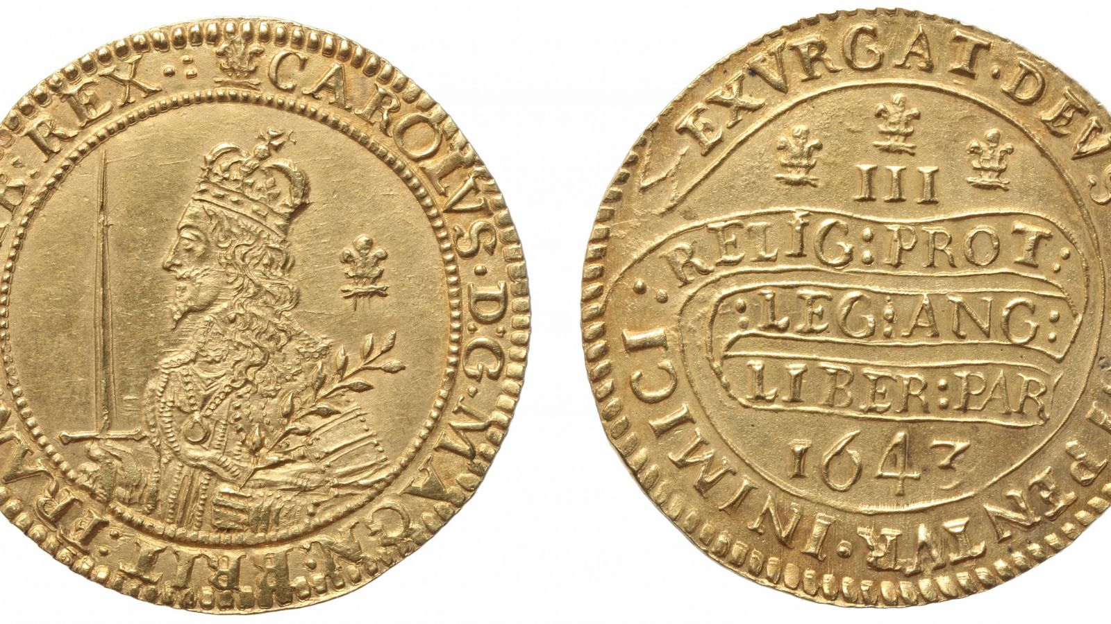 This gold triple unite, struck at Oxford in 1643, was worth £3 at the time, making ...