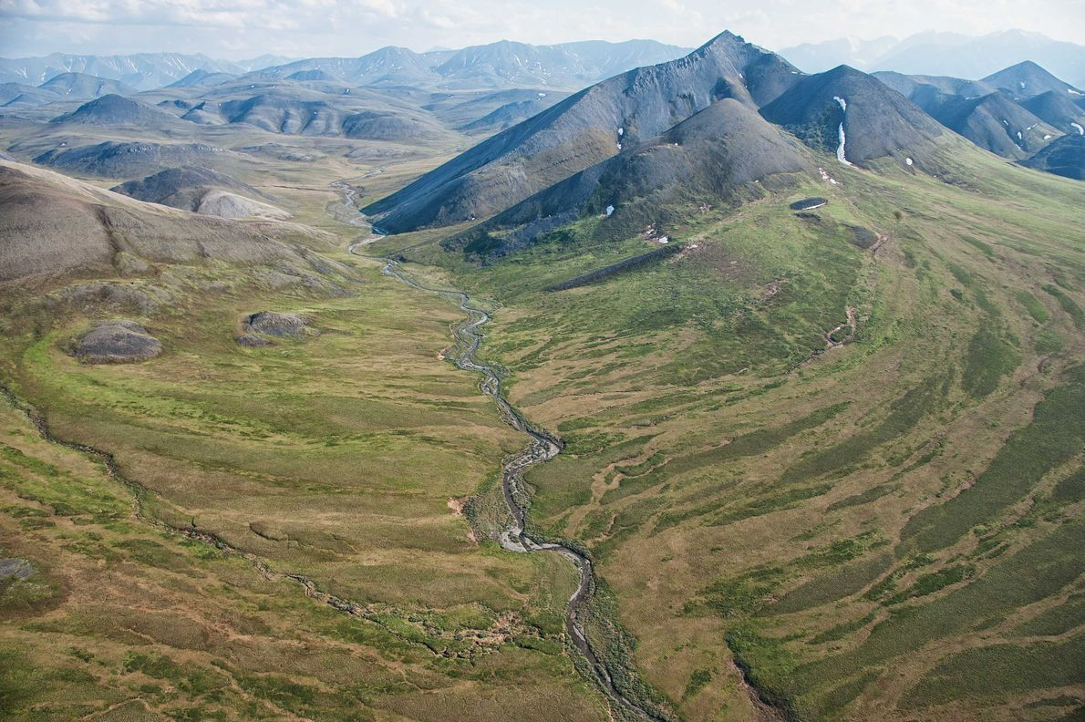 An aerial view of lands within the Arctic National Wildlife Refuge.