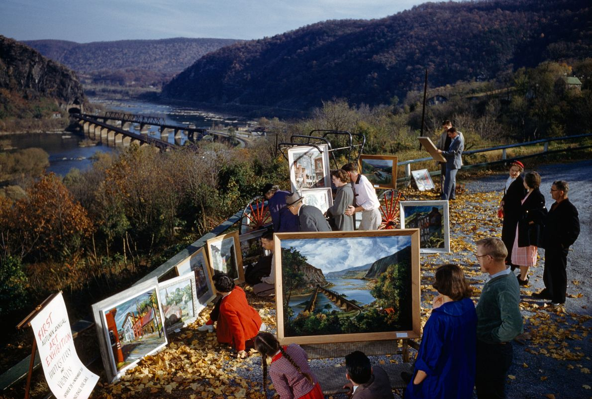 The scenic overlook at Harpers Ferry inspires works of art.