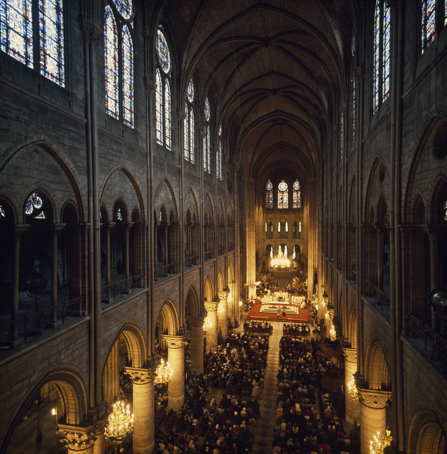 Soaring heavenward, the vast nave of Notre Dame embraces worshipers at evening Mass. Eight centuries ago, ...