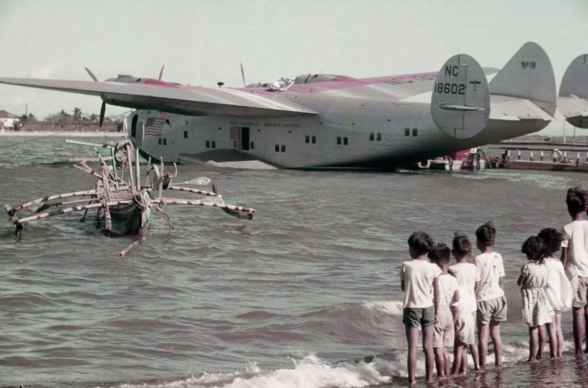 A Pan Am plane docks at Cavite on Manila Bay.