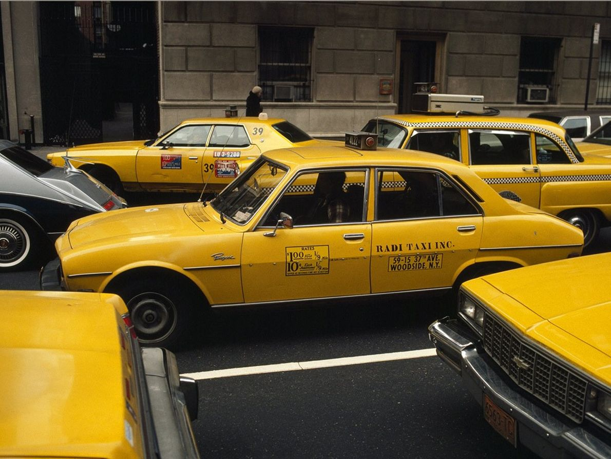 Taxis crowd New York City streets. Today there are about 12,000 taxis in New York, many ...