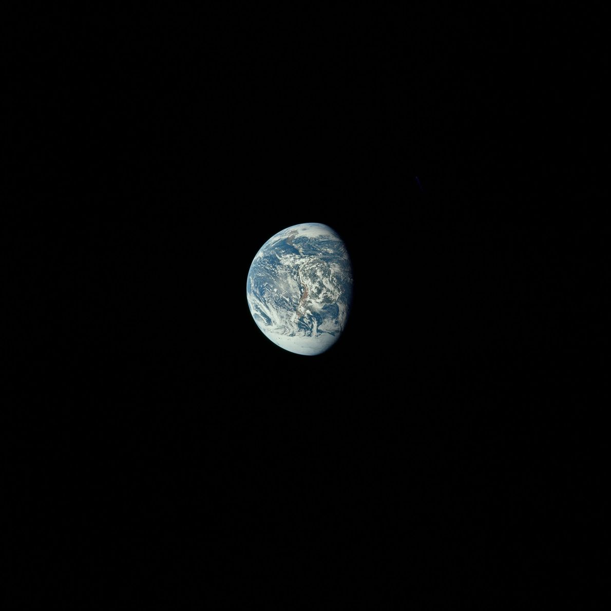 Looking back at Earth from Apollo 11.