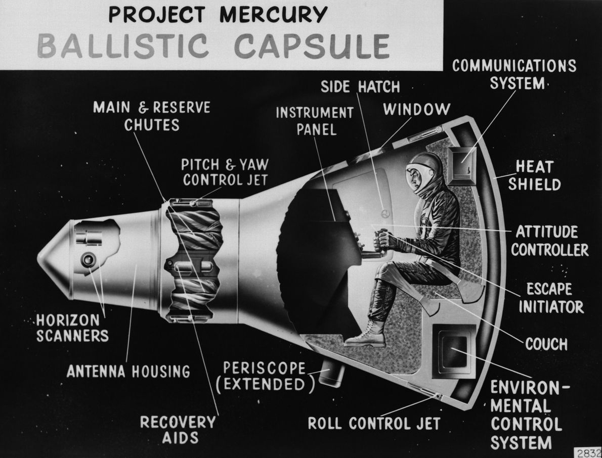 A cutaway diagram of the Mercury capsule. Modifications were made over the course of the program, ...