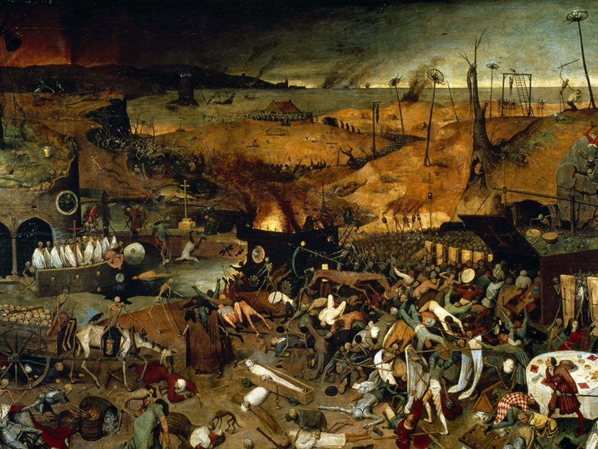 A scene depicting the Black Death in Europe, painted in the 1560s by Breugel the Elder. ...