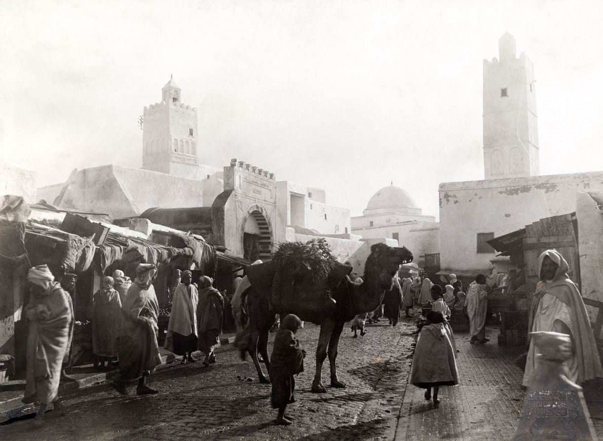 Locals and tourists alike shop in Cairo's open market.