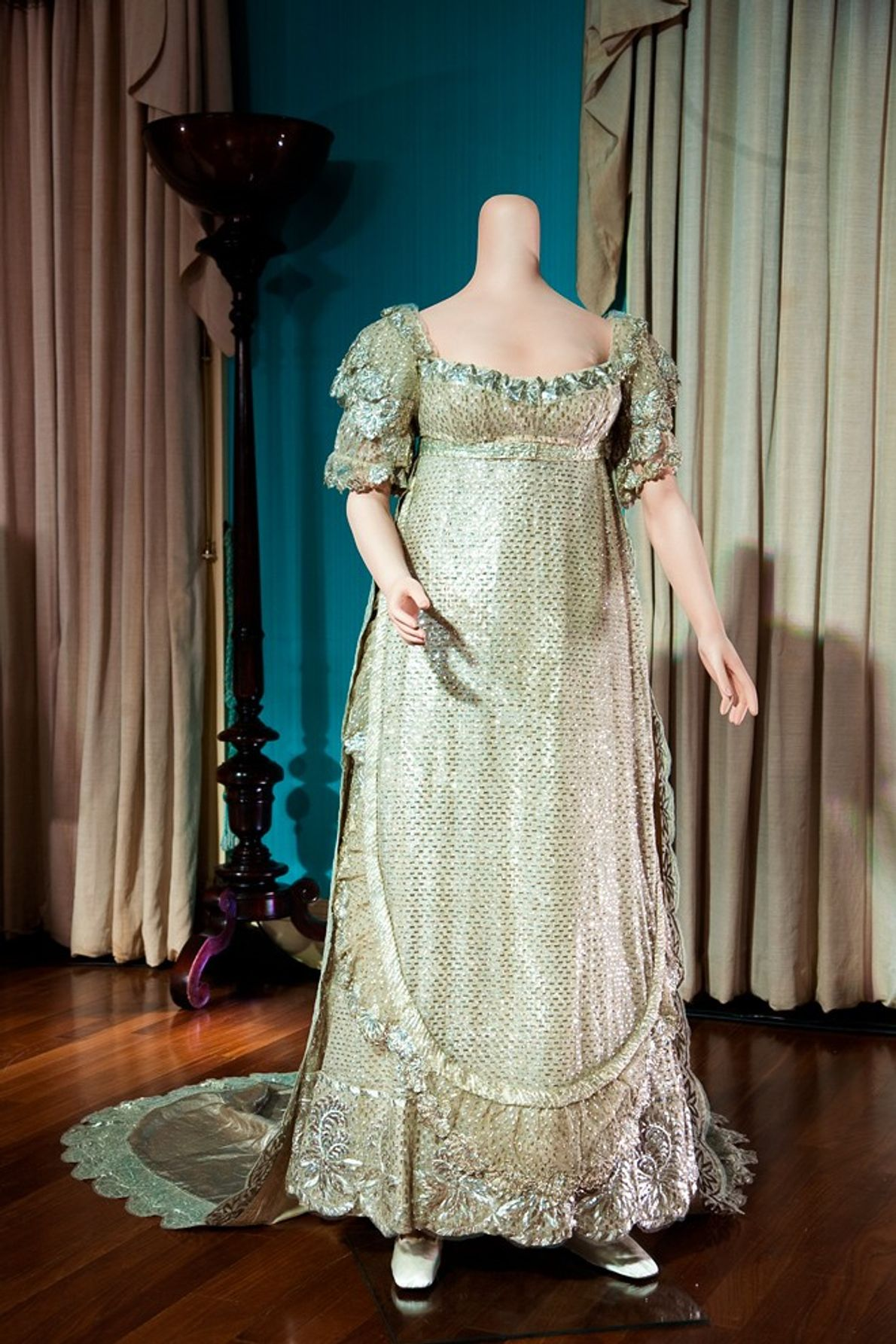 Shot through with silver thread, the wedding dress worn in 1816 by Princess Charlotte—only child of ...