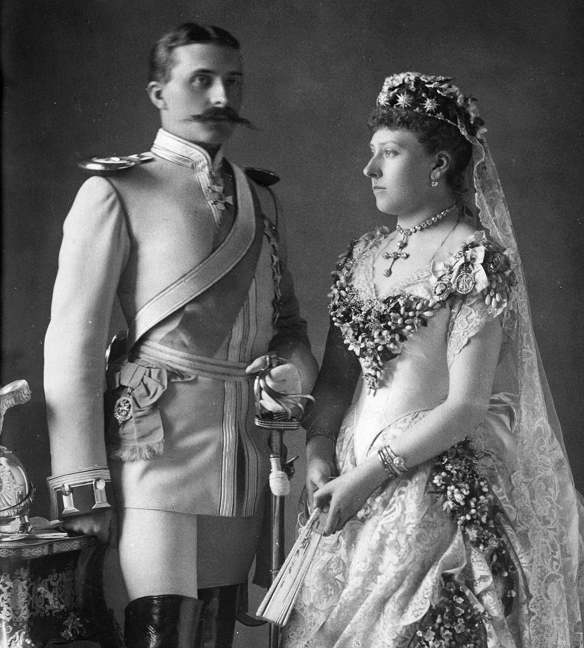 Queen Victoria's newlywed daughter, Princess Beatrice, poses for a wedding snapshot with Prince Henry of Battenberg ...