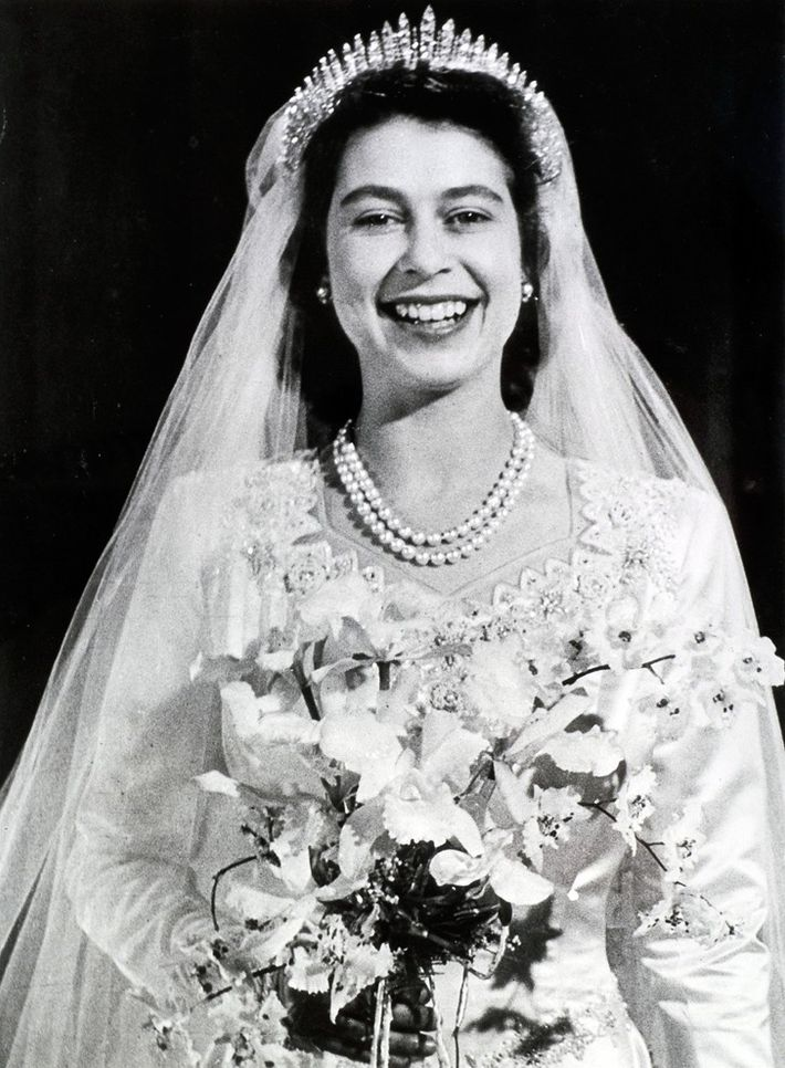 When the future Queen Elizabeth II (pictured above) walked down the aisle in London's Westminster Abbey ...