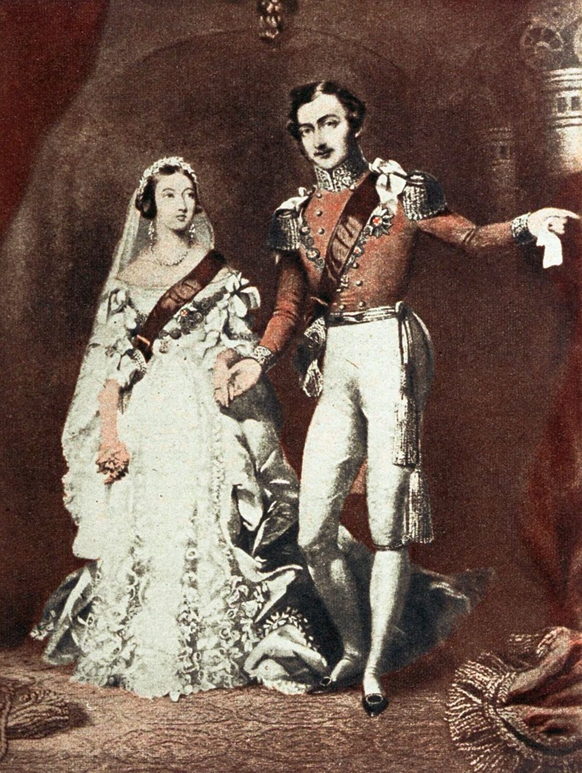 When Queen Victoria tied the knot with Prince Albert in 1840, as shown in a period ...