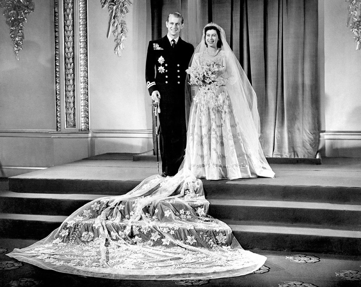 The royal wedding dress of the future Queen Elizabeth II, worn during her marriage to Philip ...