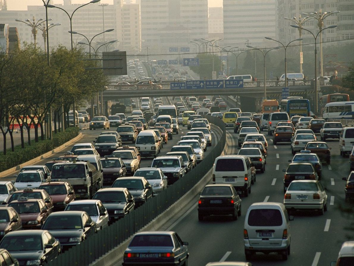 Cars flood the 2nd Ring Road in Beijing. The 1,763-square-mile (4,567-square-kilometre) city has been an important ...