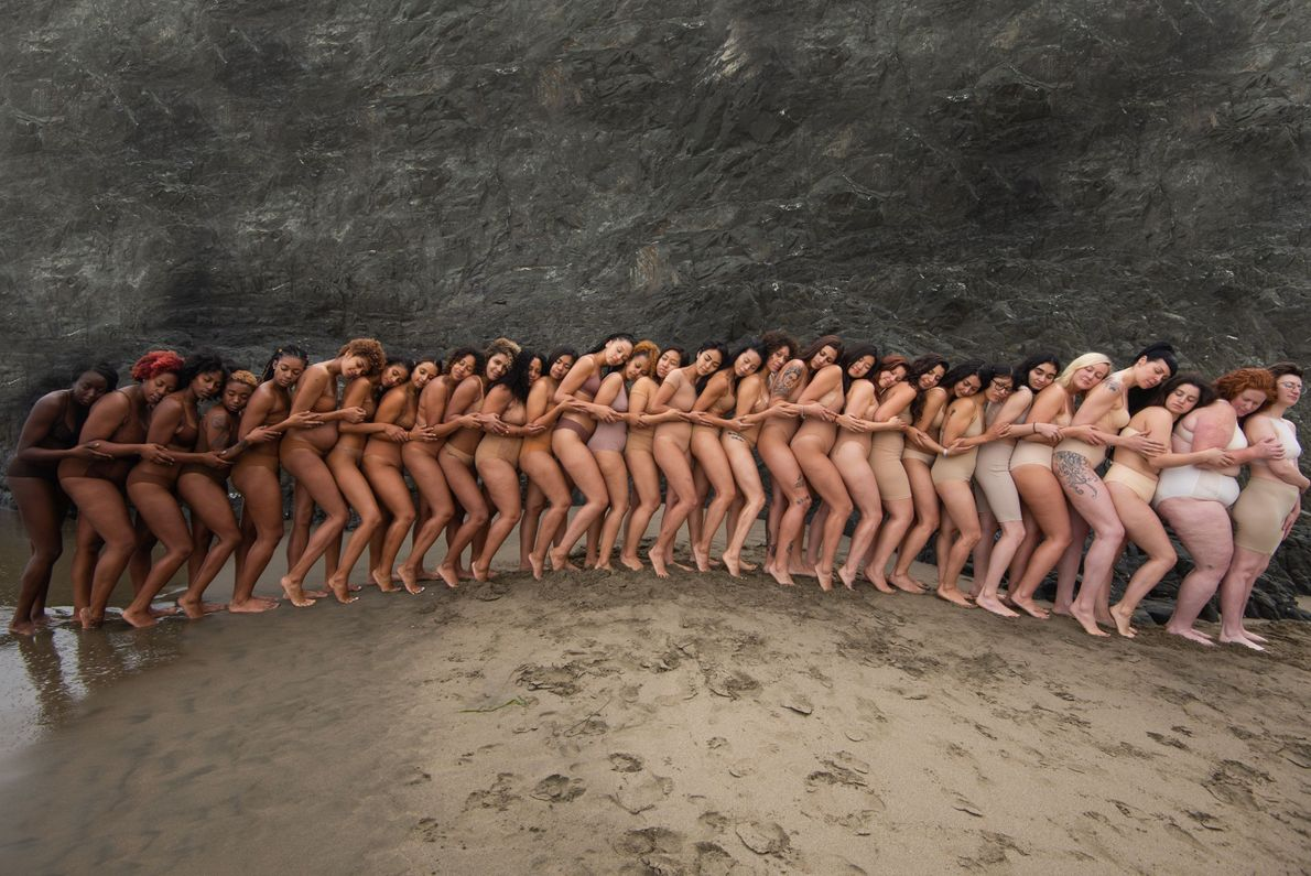 """""""This photograph features women of all shapes, sizes and ethnicities. Wearing absolutely no makeup and in ..."""