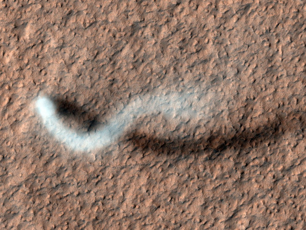 A towering dust devil casts a serpentine shadow over the Martian surface in this stunning, late ...