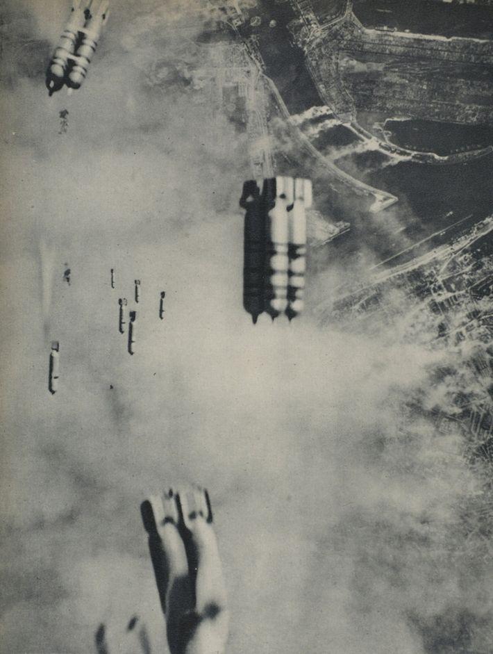 Anglo-American incendiary bombs fall on Hamburg, 1942-45 (b/w photo)