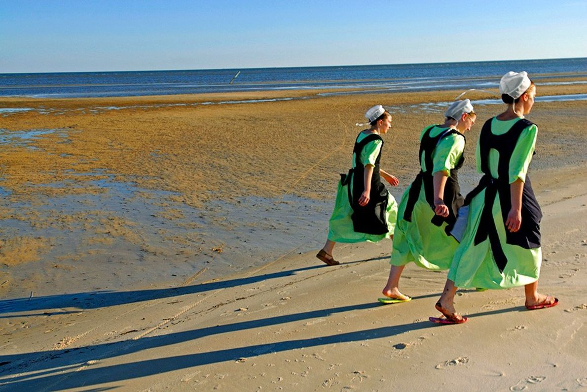Amish Women on Beach