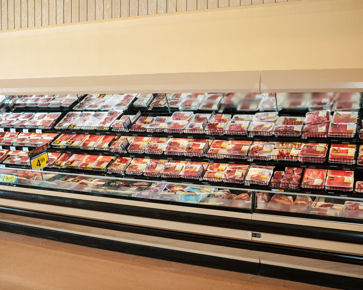 Beef sits on display at a supermarket in Dallas, Texas.