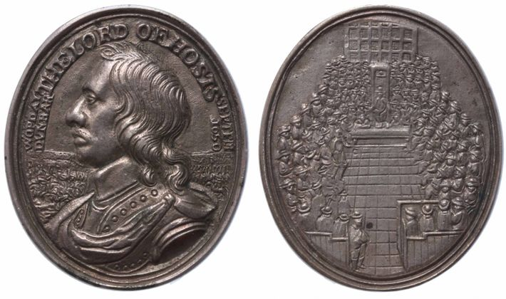 Coins could carry a powerful message. This silver medal of 1650 commemorates the victory of Oliver ...