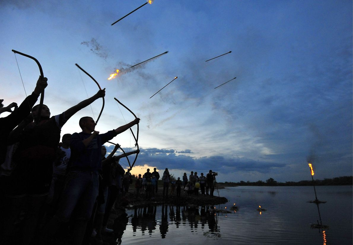 Festivities marking Ivan Kupala Day, a pagan summer solstice celebration, in the town of Turov in ...