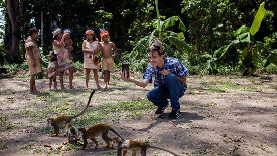 A young man snaps a selfie on Isla de los Micos, Monkey Island, in the Colombian ...