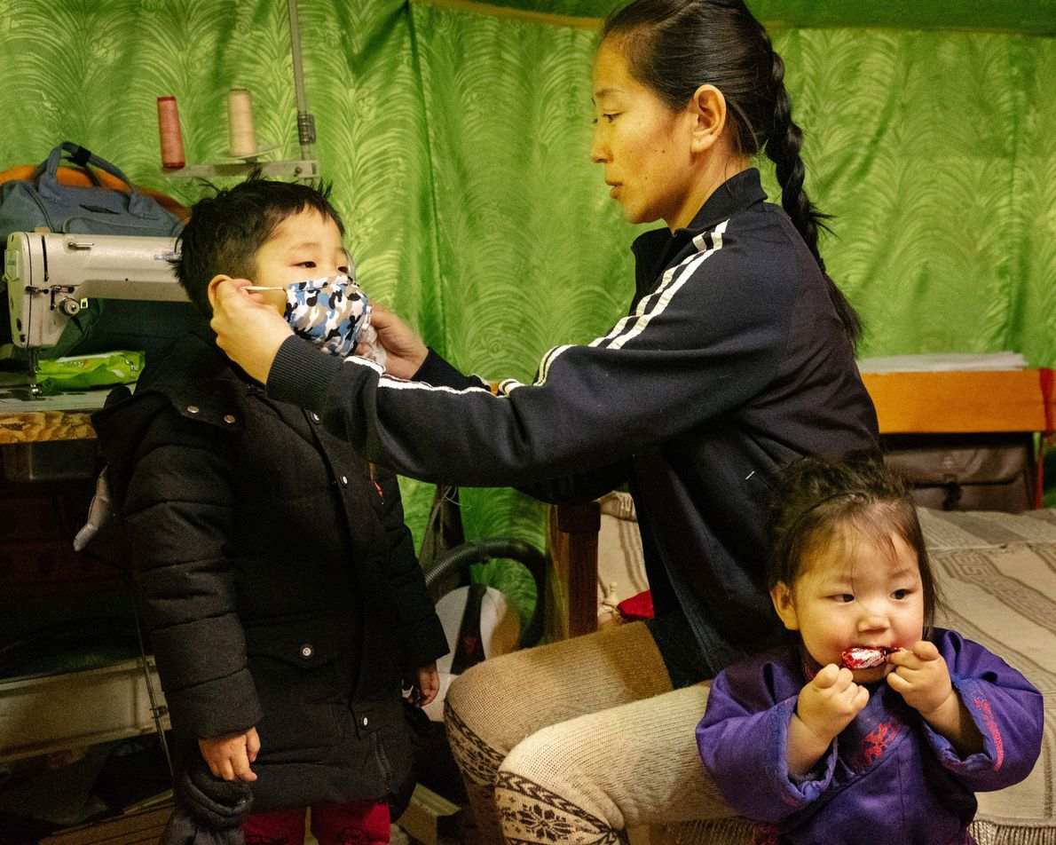 Parents do what they can to protect their children from dangerous smog in Ulaanbaatar, Mongolia, one ...