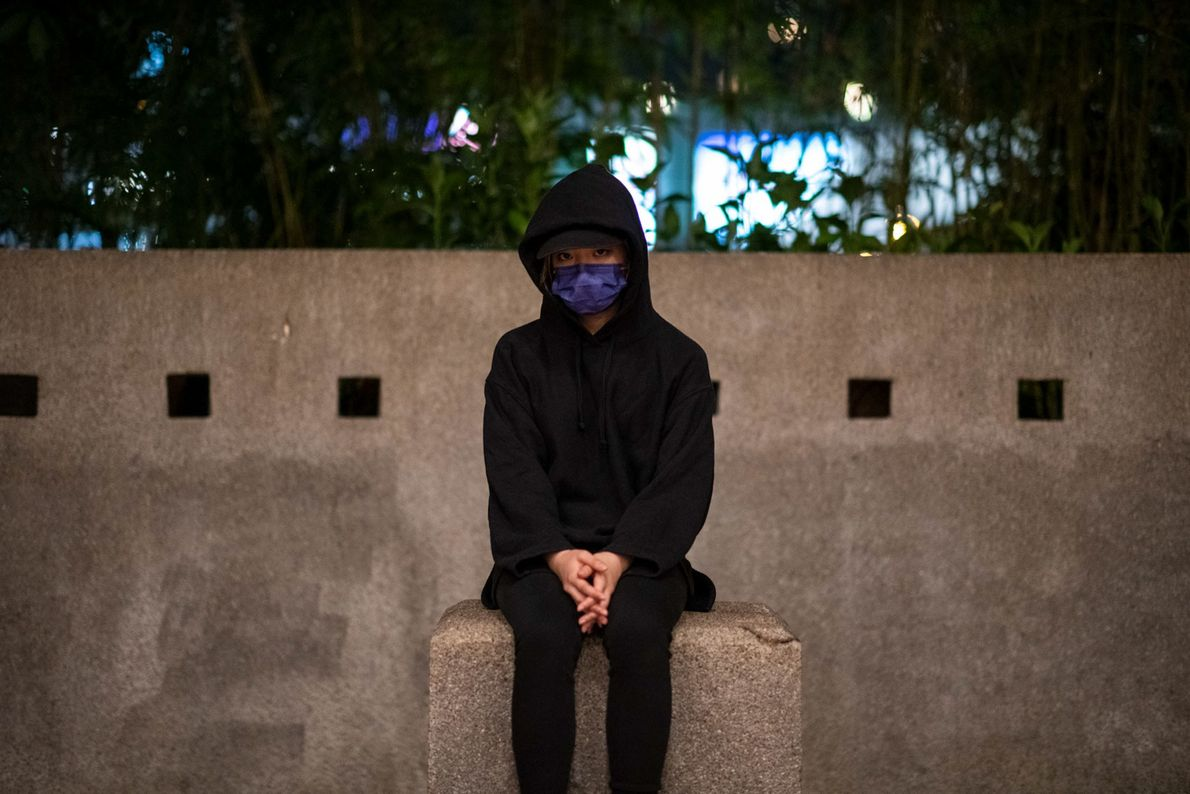 A 21-year-old student sits at Polytechnic University, where more than 1,000 people were arrested last November ...