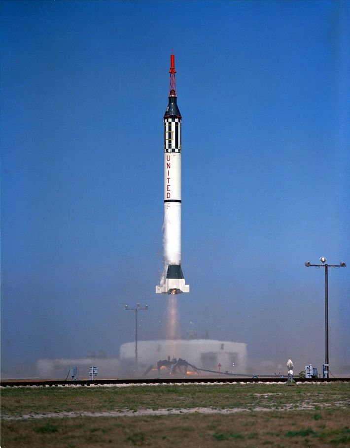 Chimpanzee 65 – later named Ham on his safe return from space – is launched on Mercury-Redstone ...