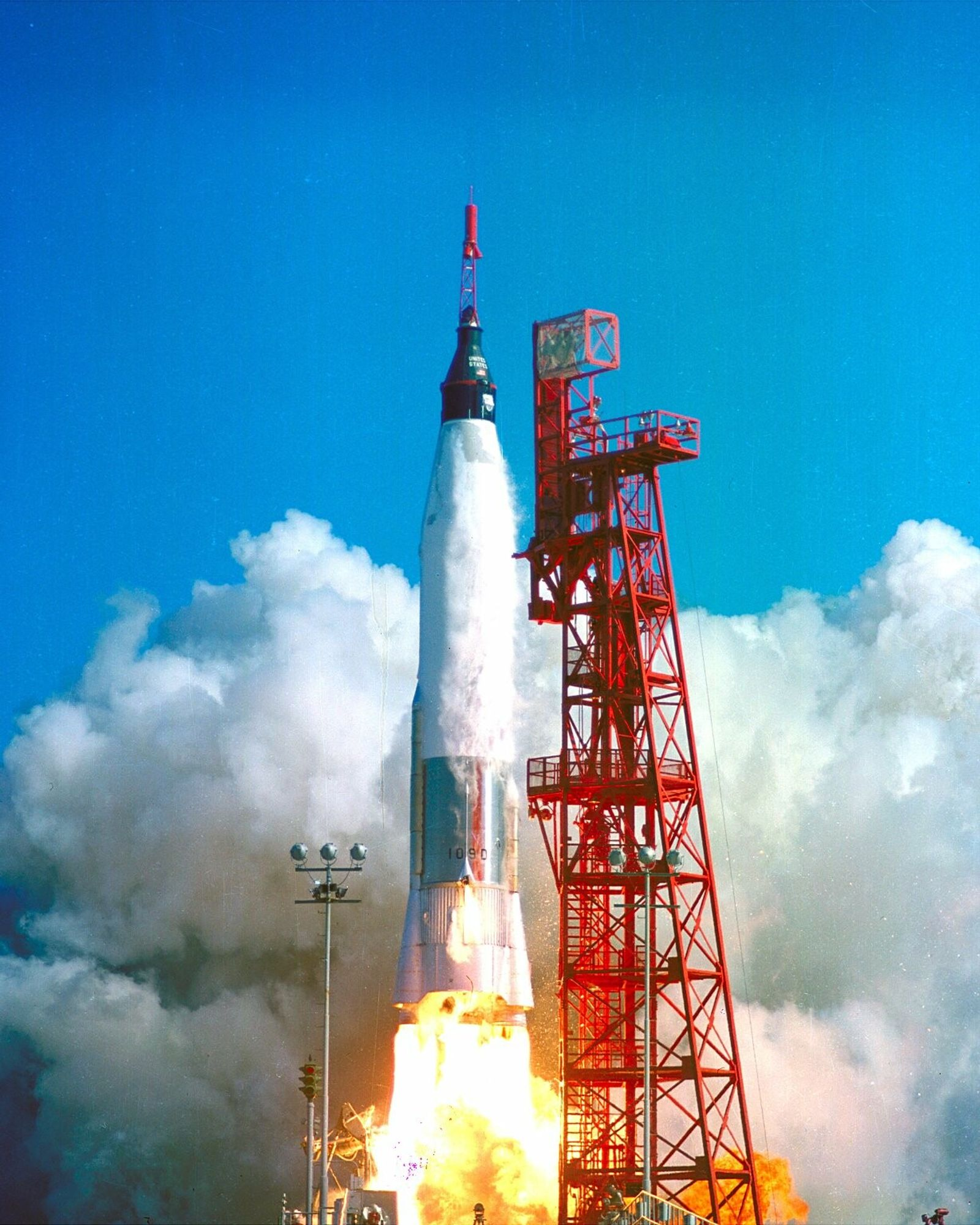 John Glenn blasts off in the Mercury-Atlas 6, February 20, 1962. The Ohio-born astronaut was the first ...