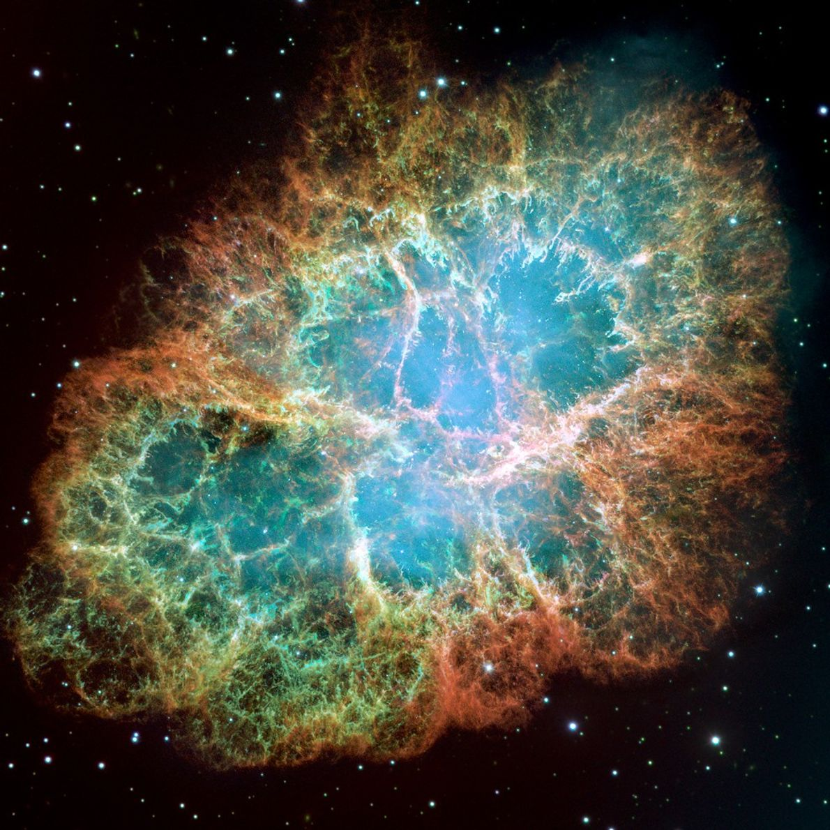 Considered the most detailed image ever taken of the famous Crab Nebula, this Hubble portrait shows ...