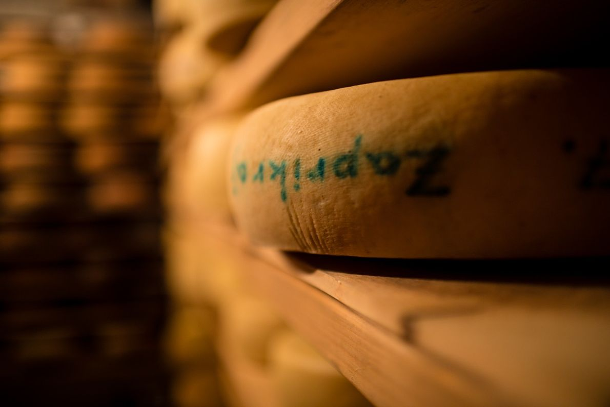 Wheels of traditional Slovenian cheese stacked on shelves in Hiša Franko's storage room.