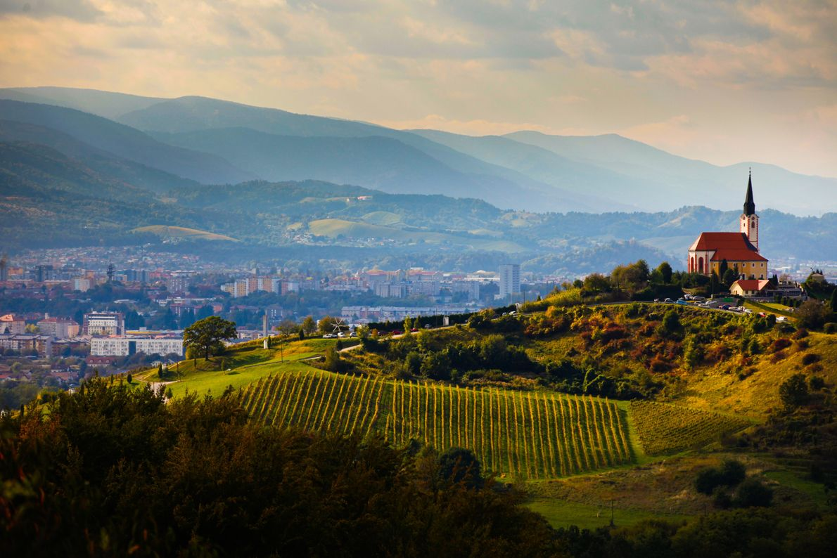 Slovenia's second largest city, Maribor, sheltered by the Pohorje Mountains – seen in the far distance. Framing the ...