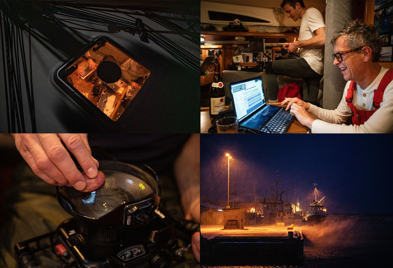 Clockwise from top left: the crew work and prepare until conditions improve; Fabrice Schnöller listens to acoustic recordings; Starch ...