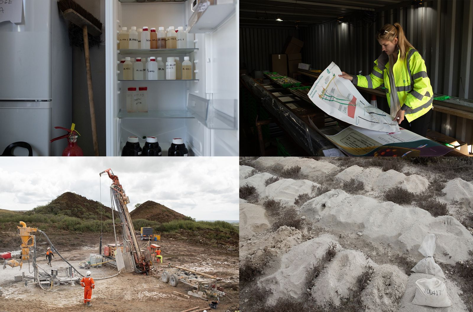 Clockwise from top left: Geothermal water samples extracted from the United Downs borehole are refrigerated whilst ...