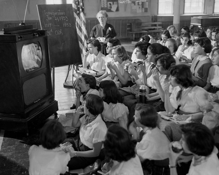 Public school children in New York City wait to watch the televised coverage of President Dwight ...