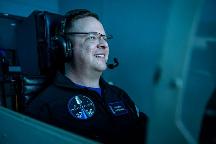 Inspiration4 mission specialist Chris Sembroski sits in a flight simulator at Space Camp in Huntsville, Alabama.