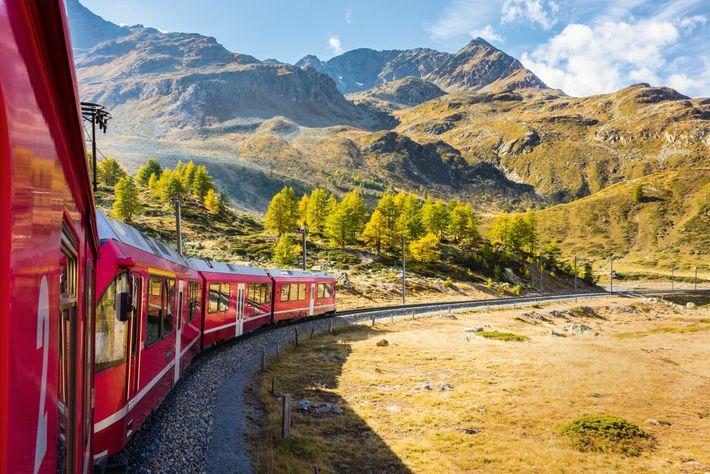 The Bernina Express runs through Graubünden, east Switzerland.