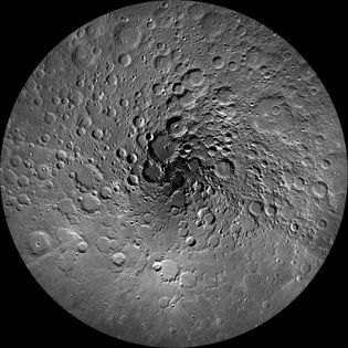 This image shows the Moon's north polar region - India's Chandrayaan-1 mission discovered water close to ...