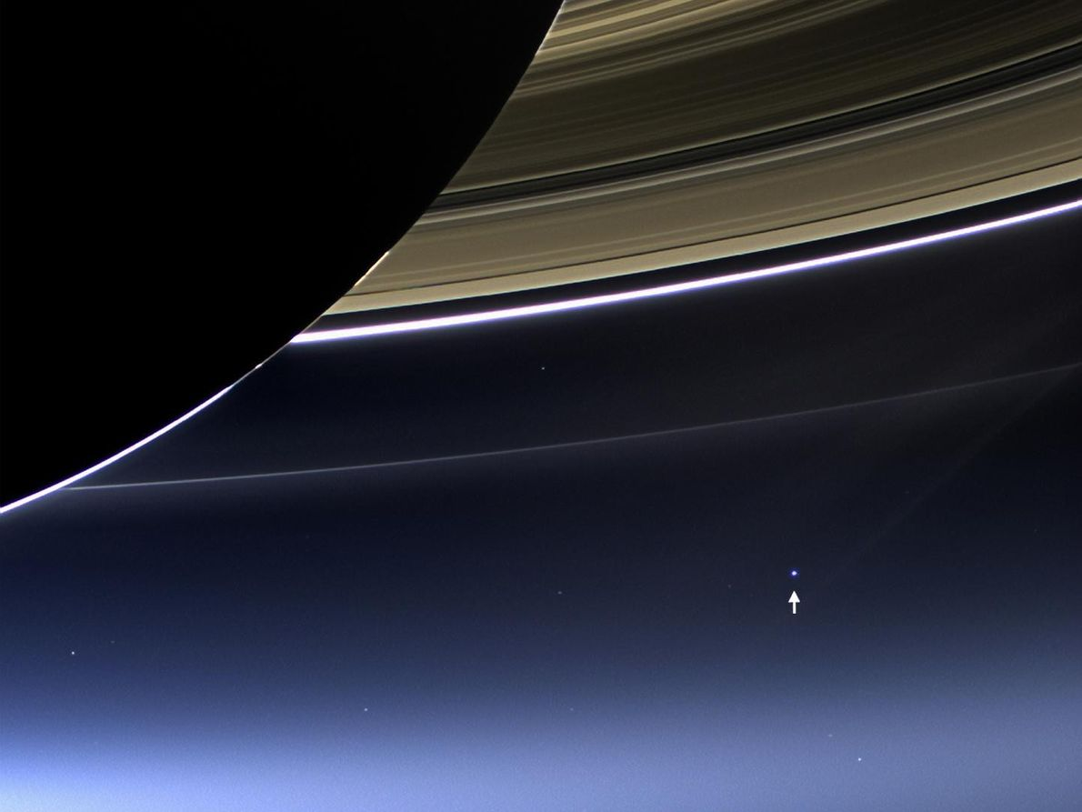 In this rare image taken by the wide-angle camera of NASA's Cassini spacecraft on July 19, ...