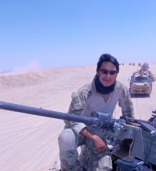 Nims during his military service on deployment in the desert.