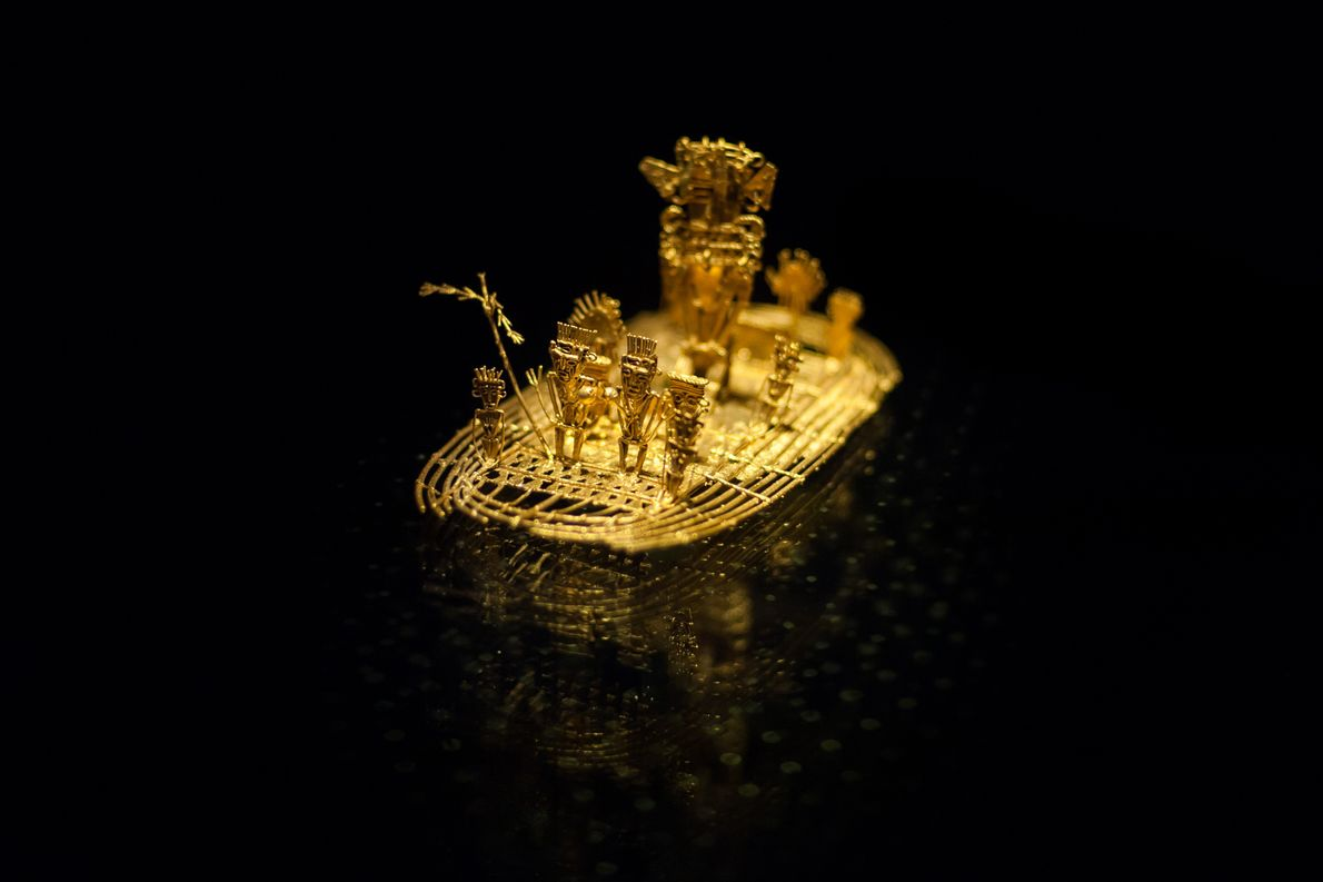 The Muisca Raft has a base in the shape of a log boat and various figures. ...