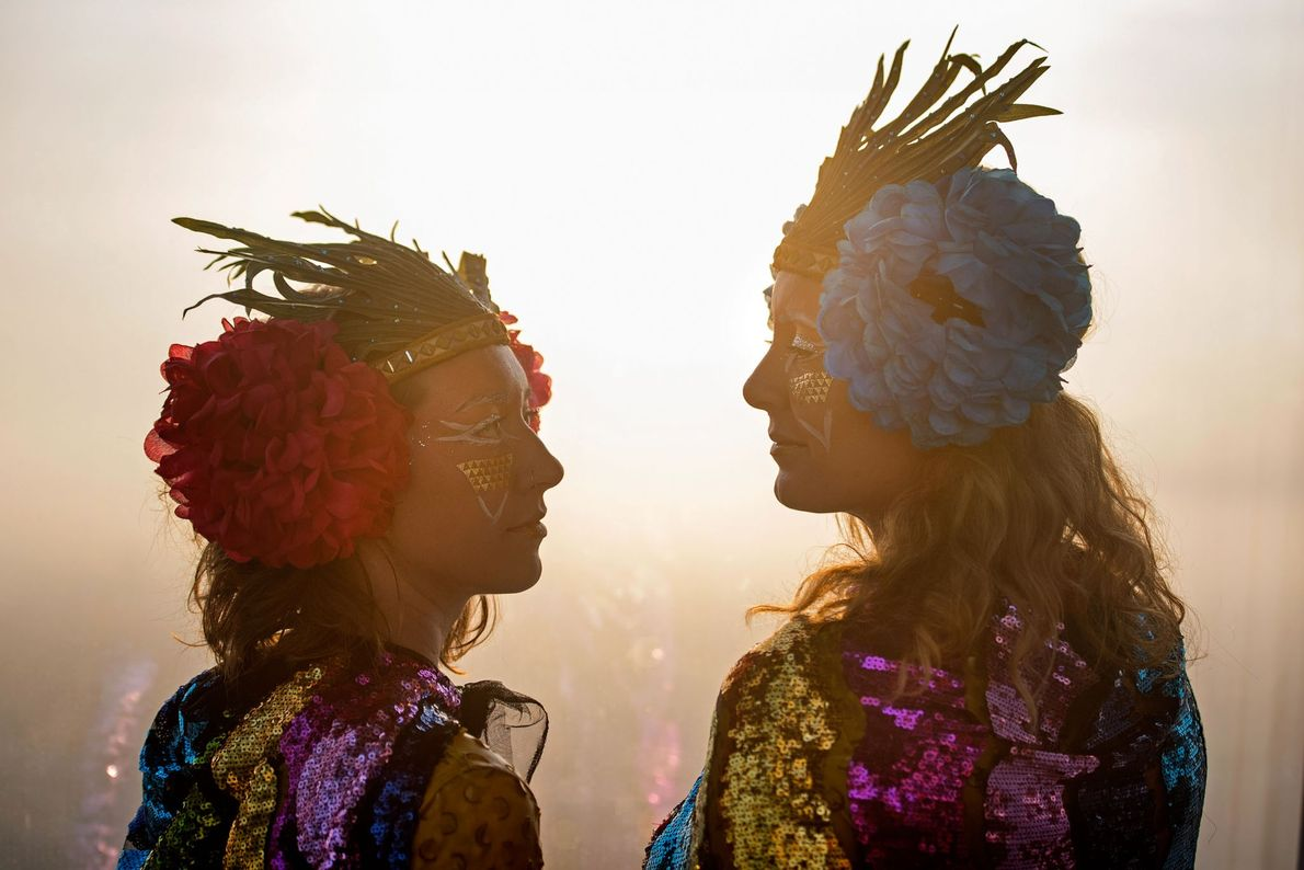 Gaia Harvey-Johnson and Sarah Vero celebrate the Summer Solstice at the View from the Shard - ...