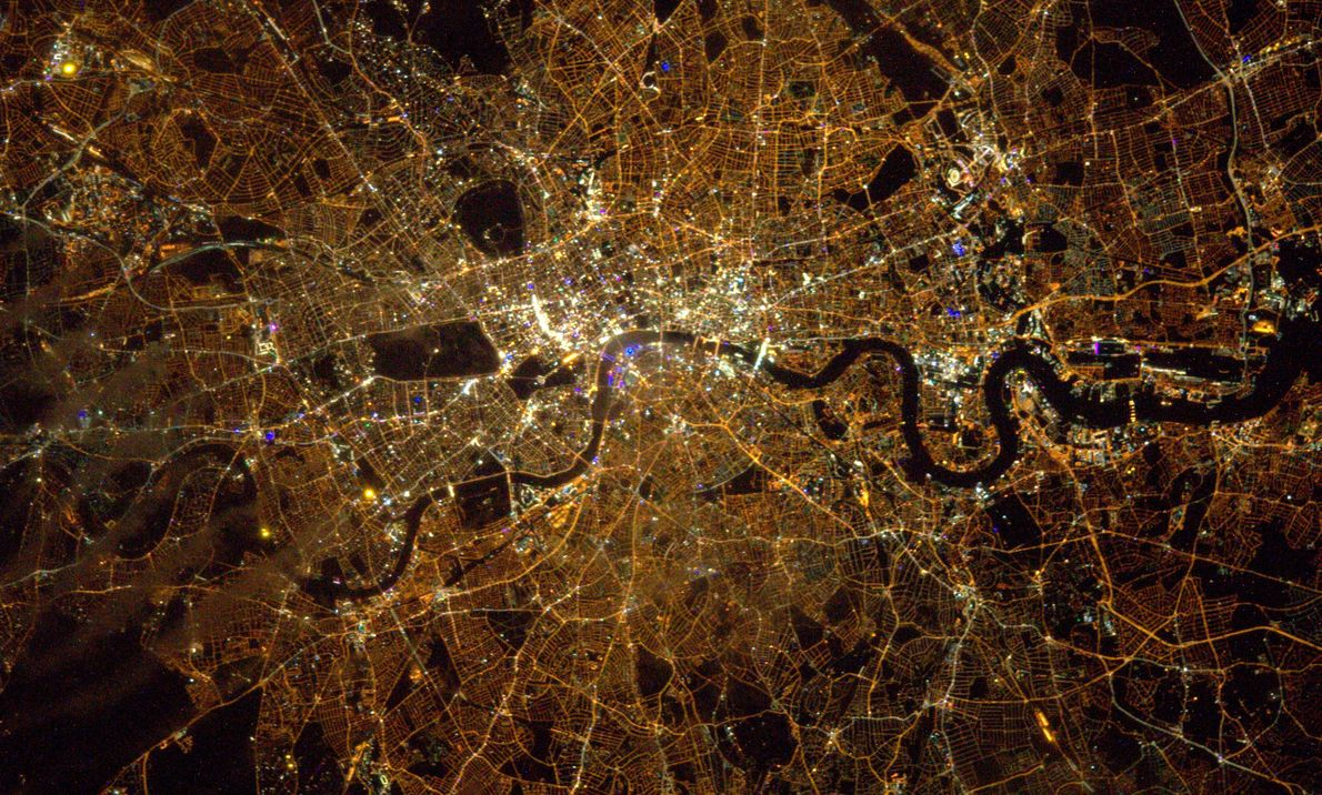 A picture of London aurora taken by ESA astronaut Tim Peake during his six-month Principia on ...