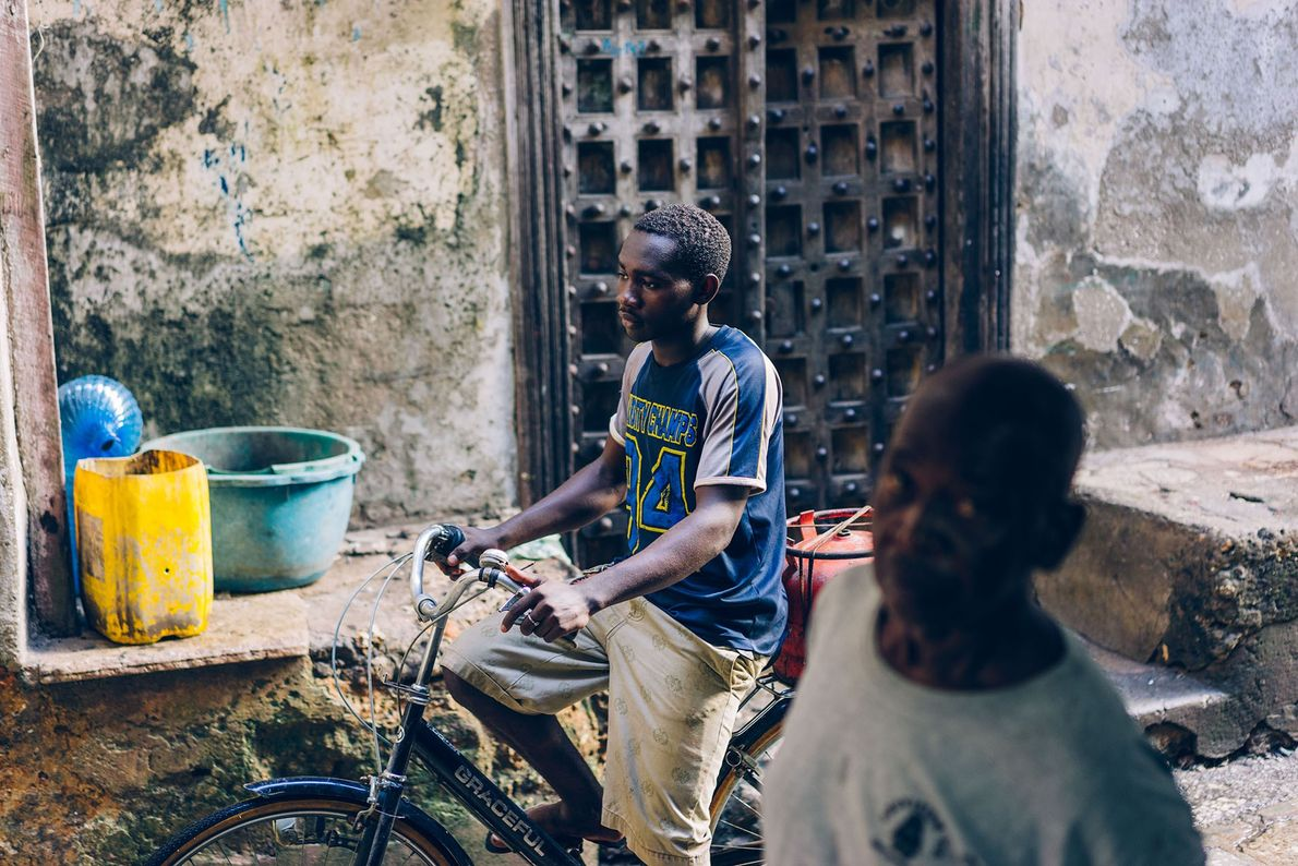 In Stone Town's narrow streets, there's only enough space for pedestrians and cyclists.