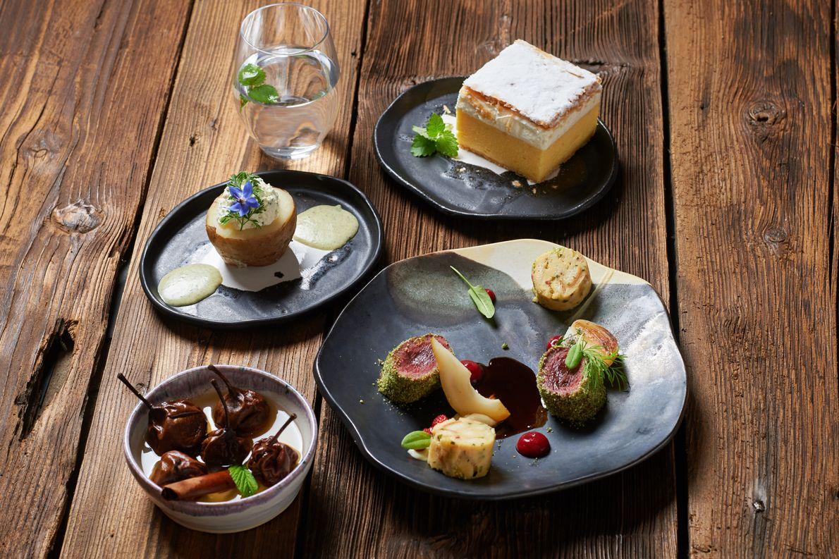 A taste of Alpine Slovenia: clockwise from top, Bled cream slice; Bohinj-style venison with dumplings; Tepka ...
