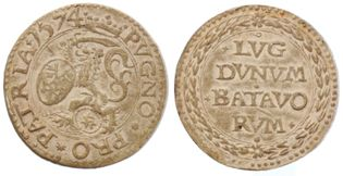A 'cardboard' coin from the siege of Leiden - all coins and metals had been requisitioned ...