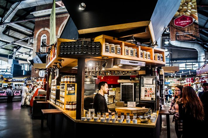 St. Lawrence Market's spacious interior boasts 120 vendors, bakers, butchers and artisans.